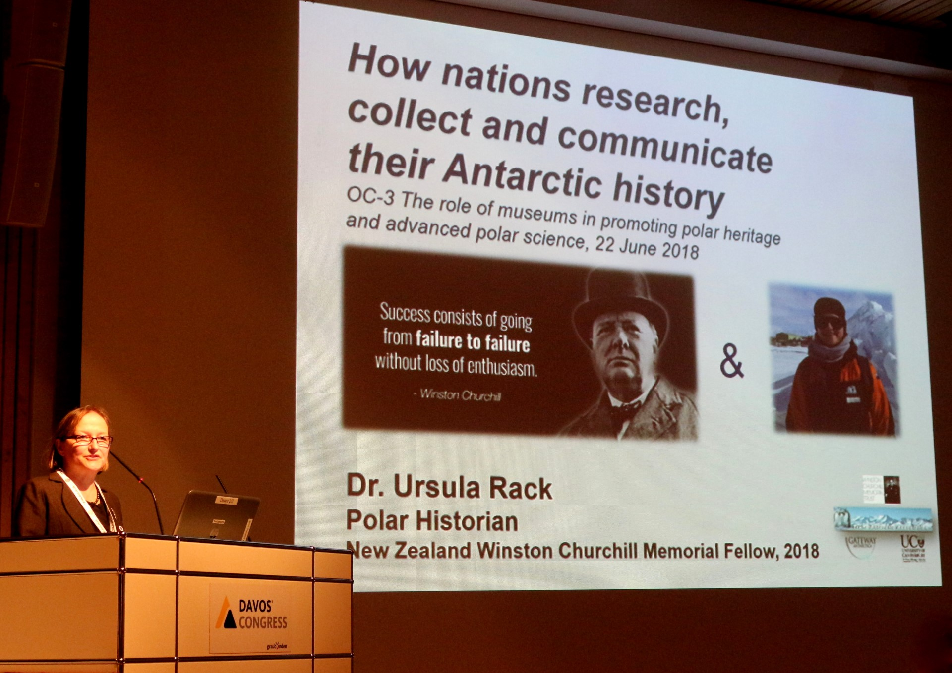 "Dr Ursula Rack speaks about her research during the session ""The role of Polar museums and advanced science"" at the SCAR POLAR2018 conference in Davos, Switzerland."