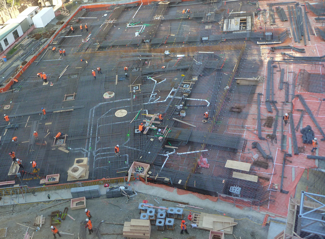 Contractors prepare for the first major concrete pour of the RSIC project