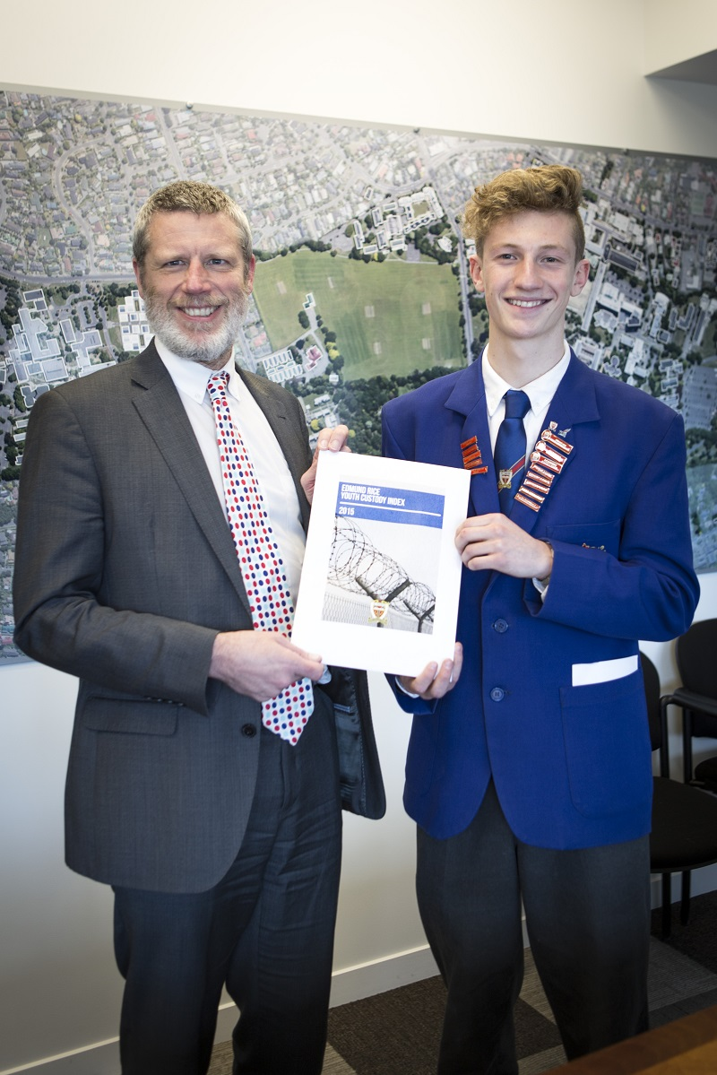 "VC Rod Carr meets St Thomas pupil Charlie Devine with his work ""Edmund Rice Youth Custody Index"" 25.9.15 Client VC office."