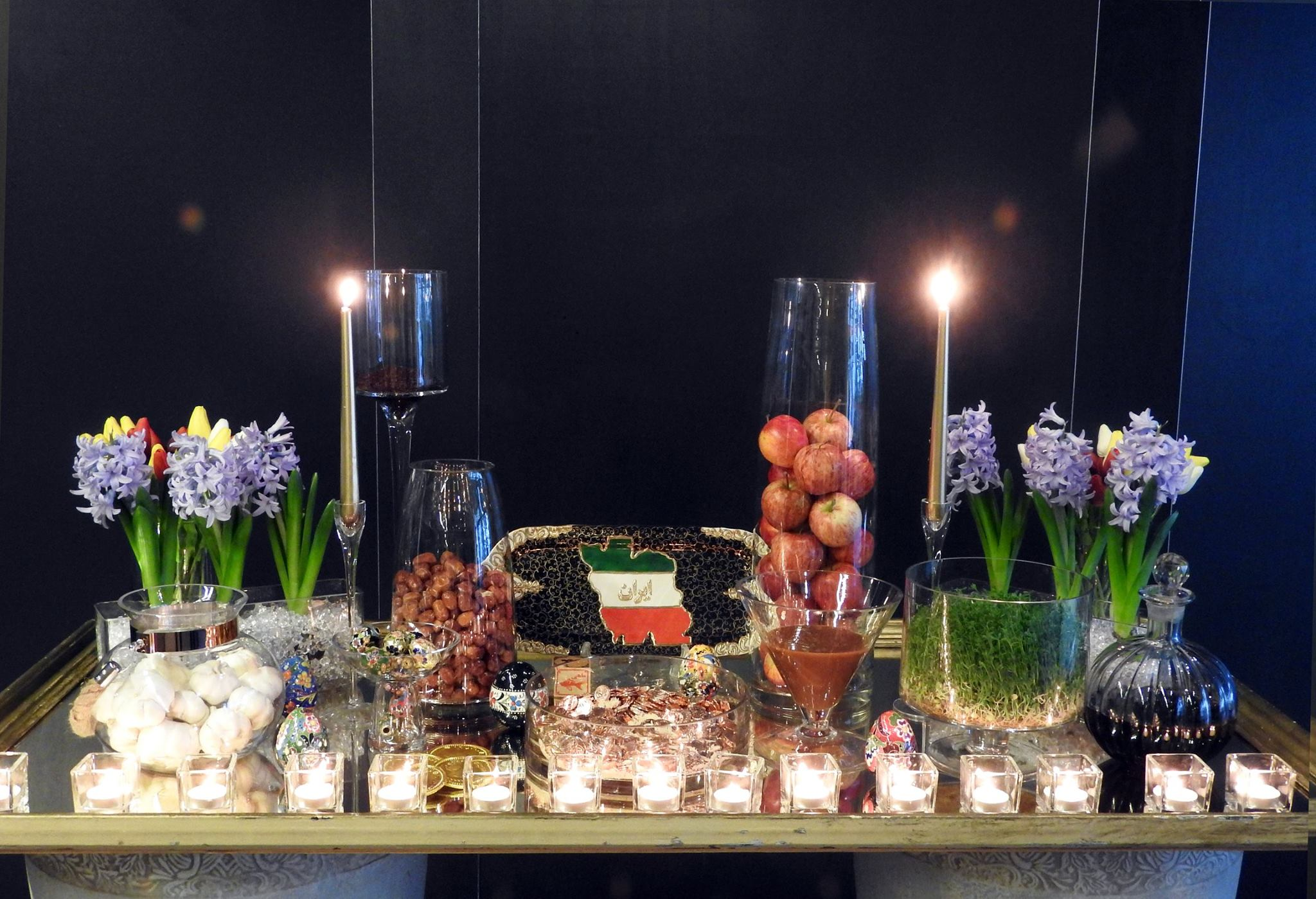 """Photo: Morteza Saadatpourvahid University of Canterbury's Iranian Society's Haft-Seen table. Each item on a """"Haft-Seen"""" table signifies an important universal virtue or value."""