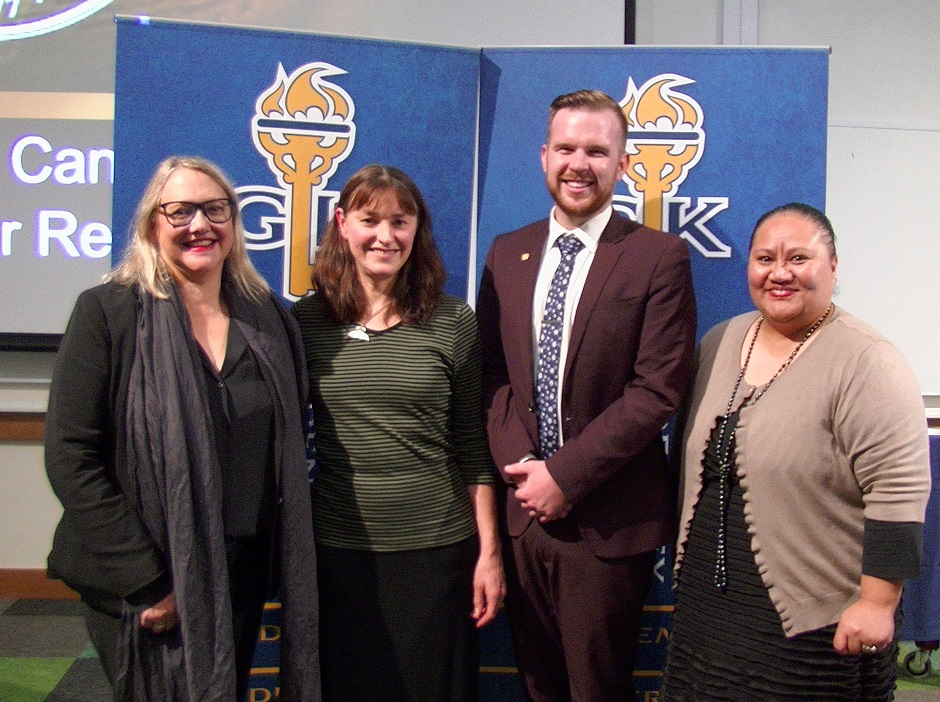 Left to right: Sue McCormack (Pro-Chancellor), Marian Maguire (Artist), Jack Thomson (Golden Key Asia-Pacific Relations Officer), Liz Keneti (Director Student Success)