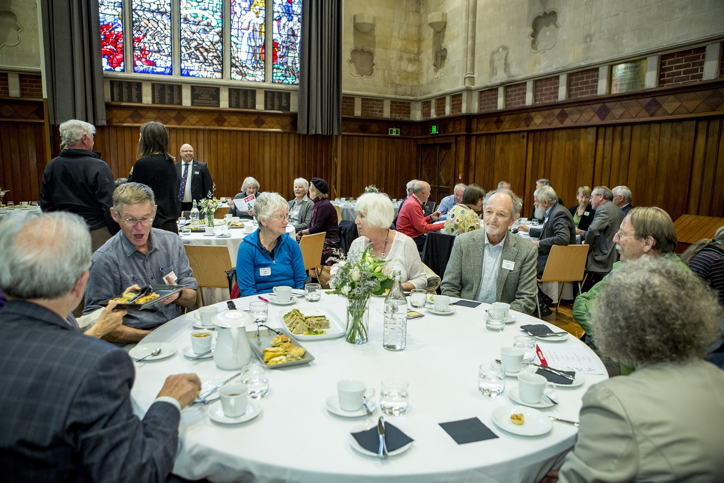Alumni Golden Graduates event Wed PM, senior alumni meet for morning tea and visito the Old Chemistry Building Jo Dowling, Vice Chancellor Rod Carr and UCSA president James Addington address the Alumni, 5.4.17 Client, Jo Dowling, Alumni.