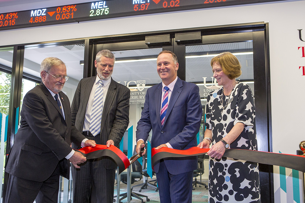 Sir John Key opens the Trading Room in the Business and Law building, 16.10.17 Sir John Key, Rod Carr, Sonya Mazey, Darren Russell, Jadrzej Bialkowski and many others. Client, Lyn Larsen, Exec Assistant Learning Resources. Hannah Seeley SSAC.
