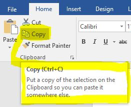 When you hover your mouse over some toolbar icons in Microsoft Office programs, the keyboard shortcut is displayed.