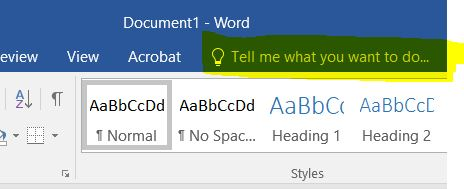 This image shows the Help field in Word