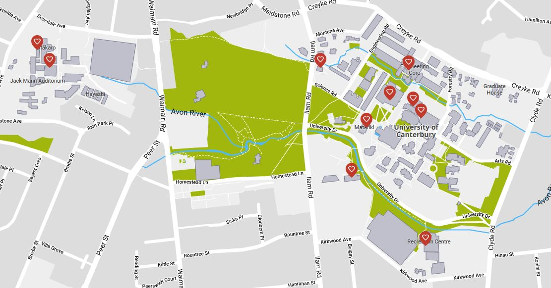 Picture of map showing locations of AEDs on University of Canterbury campus.