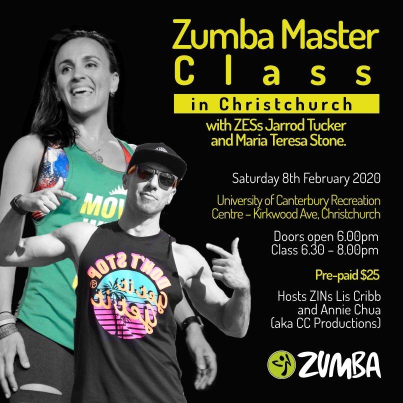 Zumba masterclass details 8 Feb 2020
