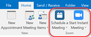 Picture of Zoom icons on Outlook Home Ribbon