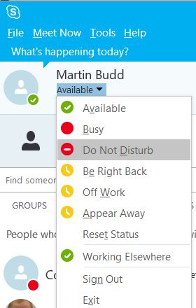 Select your Availability Status options in Skype for Business