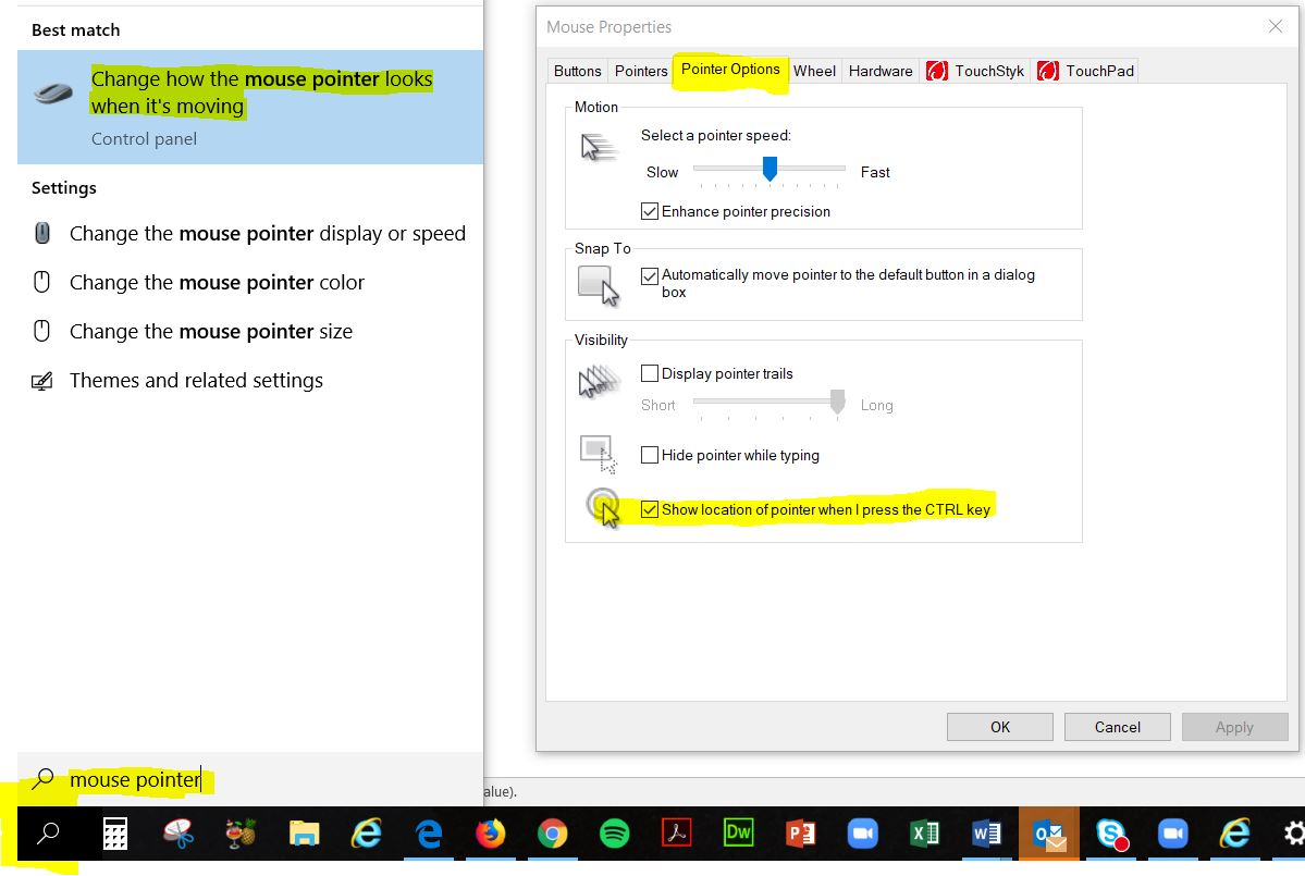 Dialogue boxes showing the Windows Search box and Mouse Pointer options