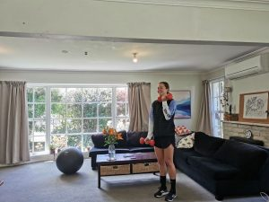 Exercising at home in lounge