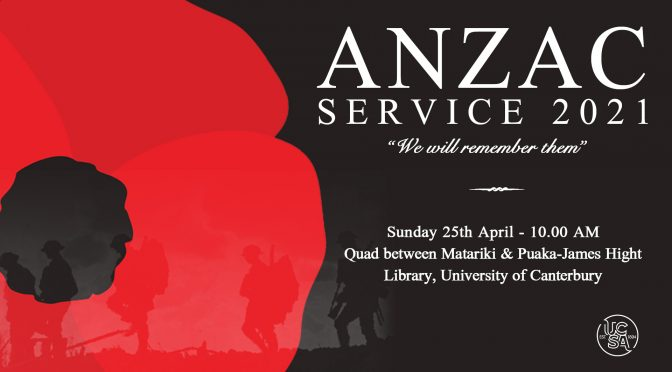 Join the UCSA's ANZAC Day Service, 2021