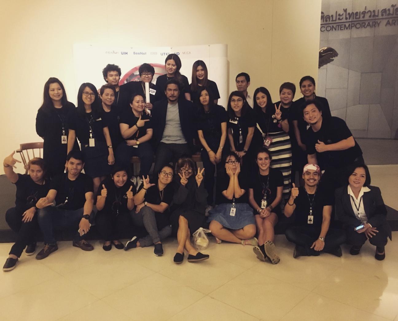 MOCA staff with Prateep Kochabua (well-regarded Thai artist) at the 'Fantasur' exhibition opening.
