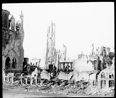 MB367, Victoria League of New Zealand records, item 149003, The ruins of Ypres Cathedral (St. Martin's Cathedral), Macmillan Brown Library, University of Canterbury
