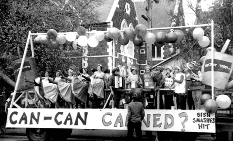 MB444, Bishop Julius Hall Association of Ex-Students records, Reference code 15975, 'Can Can Canned', Bishop Julius float for Procesh: from left: Gillian Chaplin, Helen Gordon, Margart Mitchell, Cynthia Cass, Anne Pierre – the Can Can dancers, 1960, Macmillan Brown Library, University of Canterbury.
